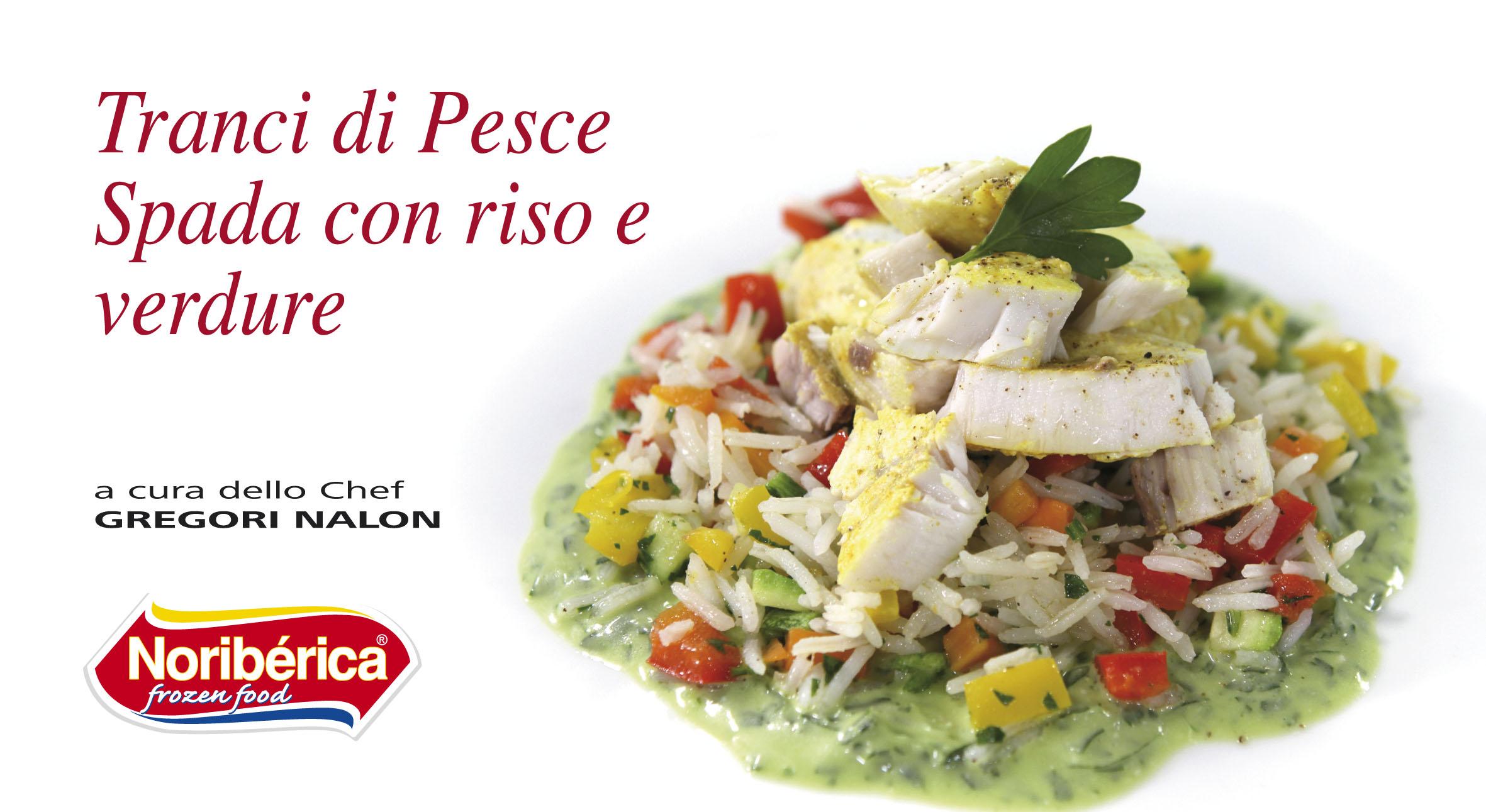 Tranci di pesce spada con riso e verdure